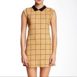 Lush Windowpane Collared Sheath Dress